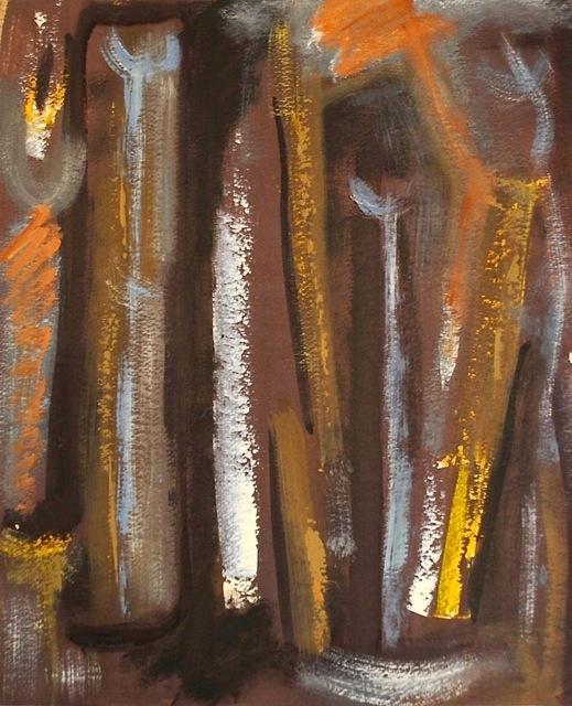 Dusti Bongé, 'Untitled (Blue and Mustard Abstract Figures on Purple Ground)', 1975, Amanda Winstead Fine Art