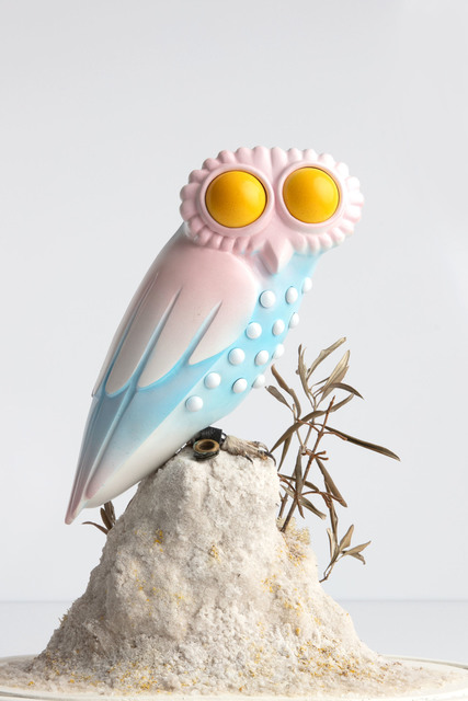Charles Degeyter, 'ΑΘΕ', 2019, Sculpture, Bell jar, taxidermy little owl, polymer clay, airbrush, foam, salt, olive branches, acrylic marker, Tatjana Pieters