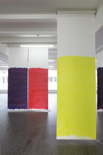 , 'Blind No. 16, Fifteen-foot ceiling or lower, (Cadmium Red Medium Hue/Anthraquinone Blue/Primary Yellow/Hansa Yellow Light),' 2011, Petzel Gallery