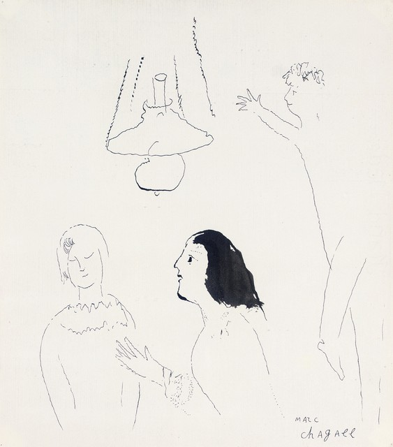 Marc Chagall, 'La Conversation ', ca. 1930, Drawing, Collage or other Work on Paper, Pen and ink on paper, Omer Tiroche Gallery