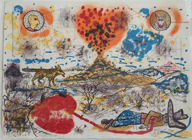 Roy DeForest, 'Untitled (Volcano for a Dying Cowboy and his Dog?)', ca. 1979, Print, Hand pulled Stone Lithograph, Osceola Gallery