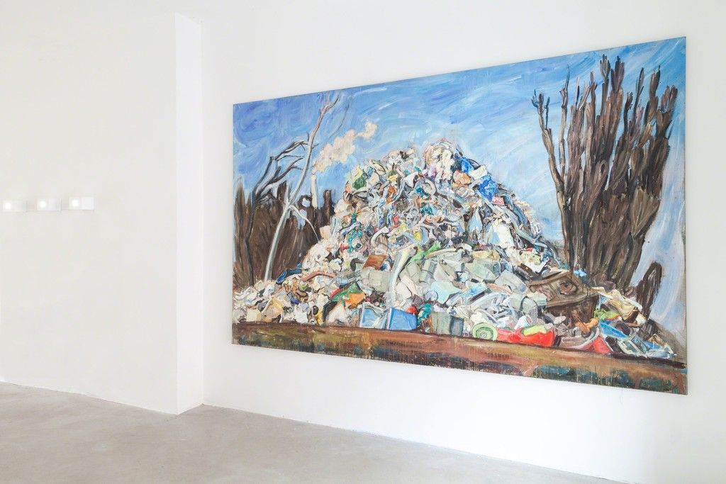 "Katarzyna Badach, exhibition view, ""Monte Schrott"", 2015, 175 x 280 cm, oil on canvas 