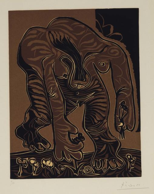 Pablo Picasso, 'Femme nue cueillant des Fleurs', 1962, Print, Linocut in colors on Arches paper, Christie's