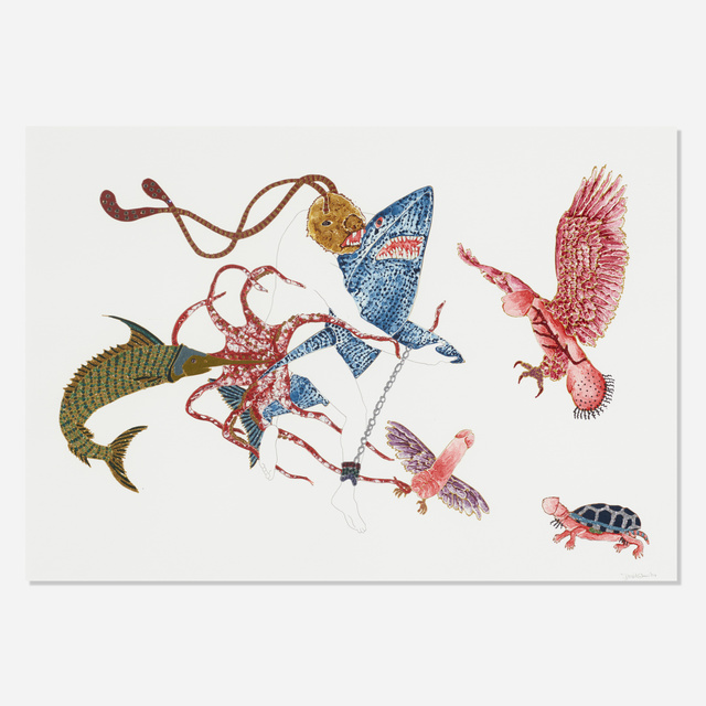 Raqib Shaw, 'Untitled', 2004, Drawing, Collage or other Work on Paper, Acrylic, metallic paint, graphite, glitter and rhinestones on paper, Rago/Wright