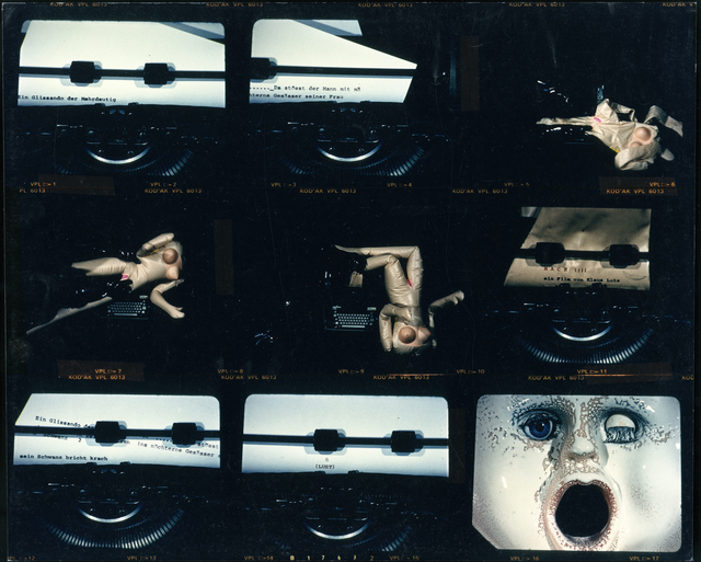 ", 'Contact sheet with film stills from ""Mach"",' ca. 1989, Rotwand"