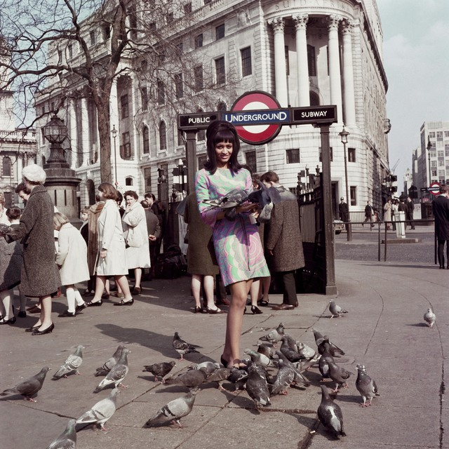 , 'Drum cover girl Marie Hallowi at Charing Cross Station, London,' 1966, October Gallery