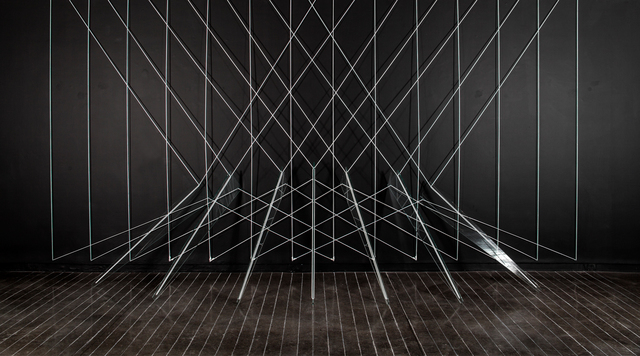 Lydia Okumura, 'In front of the light ', 1977, Installation, Glass, rope, chalk, Galería La Cometa