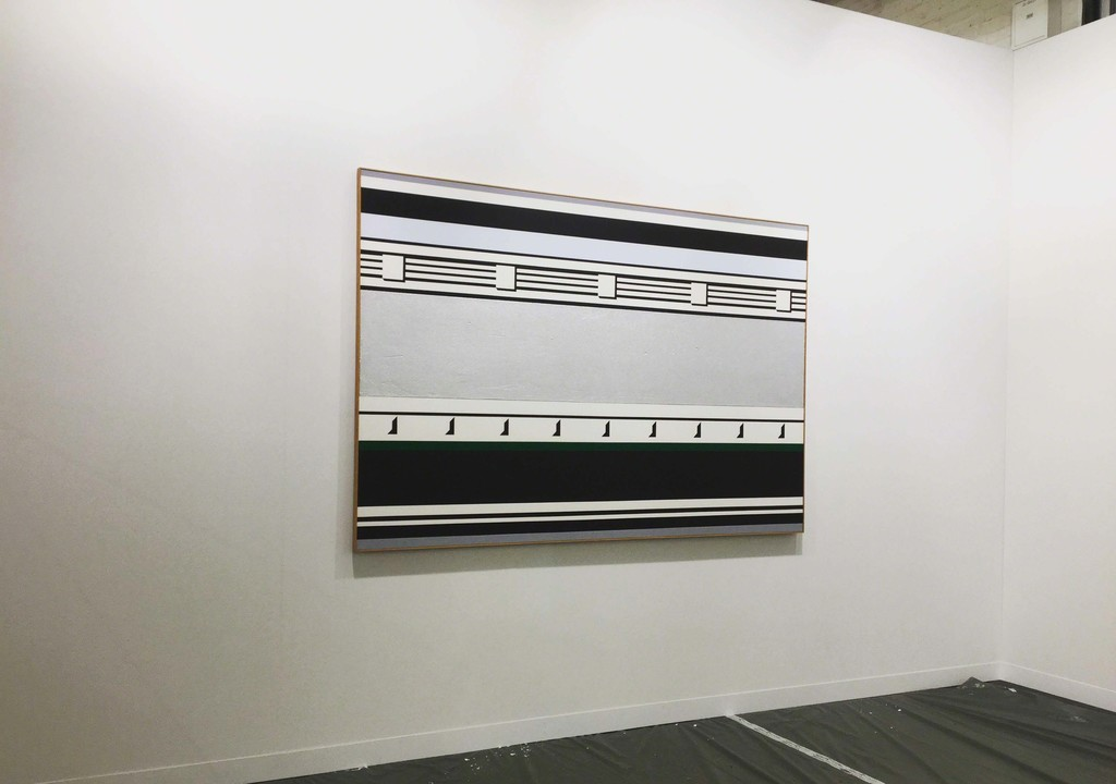 "Installation view of Castelli Gallery Art basel 2016 Booth J3 exhibit ""Roy Lichtenstein: Entablature Paintings and Drawings, 1974-1976."""