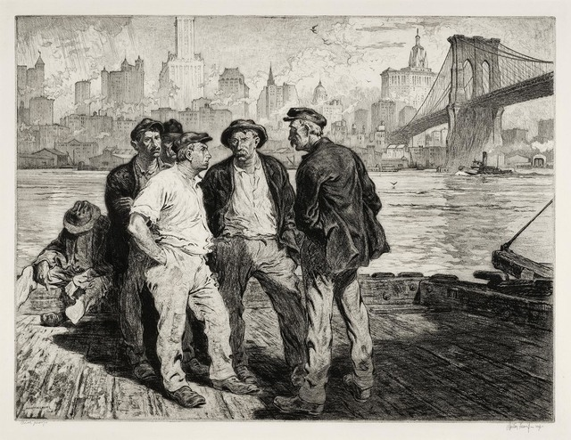 , 'Dockworkers under the Brooklyn Bridge.,' ca. 1916, The Old Print Shop, Inc.