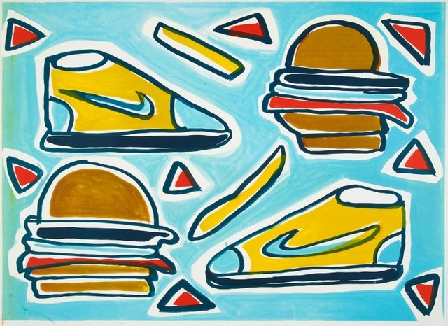 Katherine Bernhardt, 'Cheeseburger Deluxe ', 2016, Lougher Contemporary