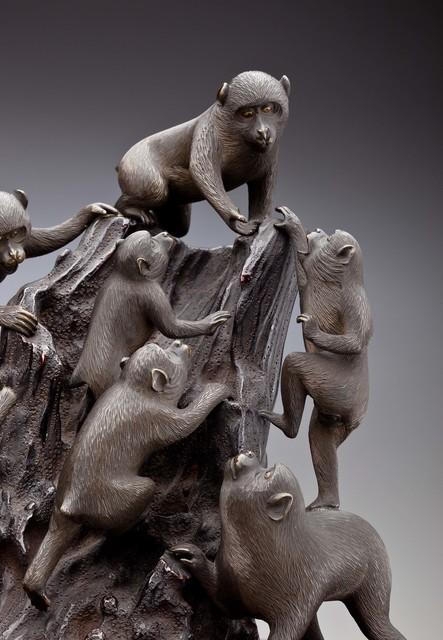 , 'Seven Monkeys Climb a Tree Stump (detail); Japan,' 1868–1912, Newark Museum