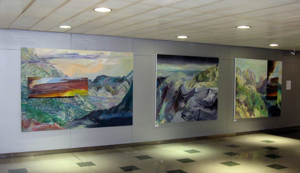 Elaine Galen's Catalina Mist, Oil on Canvas, 65x96; Caeseria Goddess, Oil on Canvas, 65x75; and Sabino Mountain, Oil on Canvas, 66x76 on exhibit in New York City, 2010