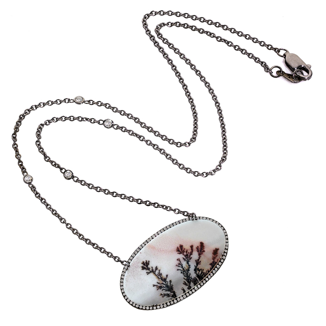 , 'Natural Dendrite Agate White Diamond Black Gold Necklace,' 2015, Szor Collections