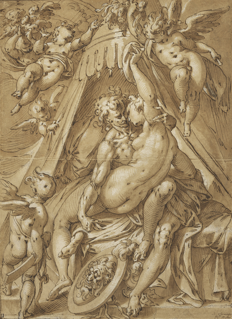 Abraham Bloemaert, 'Mars and Venus', 1592, Pen and brown ink, brown wash, white heightening over traces of black chalk, J. Paul Getty Museum