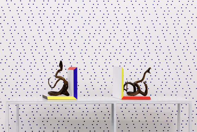 Charles Avery, 'Untitled (Bookends)', 2012-2013, Sculpture, Bronze, beech wood, acrylic paint, GRIMM