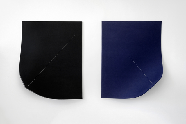 , 'Work On Felt (Variation 9 and 10) Black and Midnight Blue (Diptych),' 2016, Spinello Projects