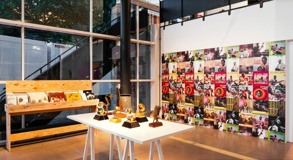Curated Igo Diarra and Dolly Kola-Balogun, Installation of objects and archival materials related to Ali Farka Toure and his band and concert by the remaining original members (2014/2017), Installation view, documental Halle, Kassel, Documenta 14, Photo: Michael Nast.