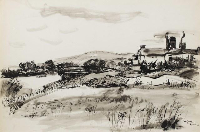 Henri Hayden, 'Paysage, Triel-sur-Seine', 1948, Drawing, Collage or other Work on Paper, Ink on paper, Leclere