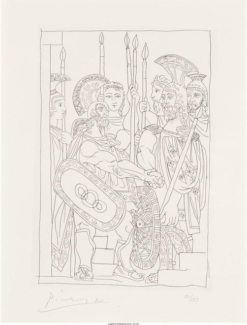 Pablo Picasso, 'Accord entre les Guerriers de Sparte et d'Athènes, pl. 5, from Lysistrata', 1934, Print, Etching on Arches paper, Heritage Auctions