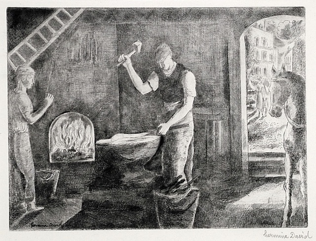 Hermine David, 'Marechal Ferrant (The Blacksmith)', ca. 1921, Print, Etching and drypoint, Harris Schrank Fine Prints