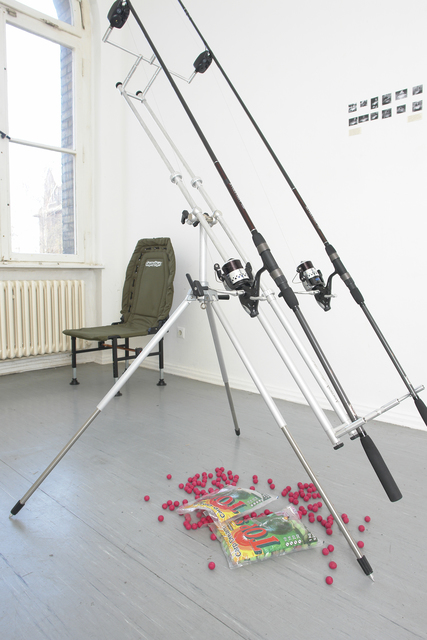 Tue Greenfort, 'Carp evolution - Revolution', 2006, Installation, Rod hoder, bait for fish, 2 fishing rots, KÖNIG GALERIE
