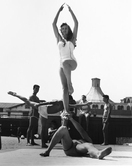 , 'Woman Being Balanced, Muscle Beach, Santa Monica, CA,' 1954, Bruce Silverstein Gallery