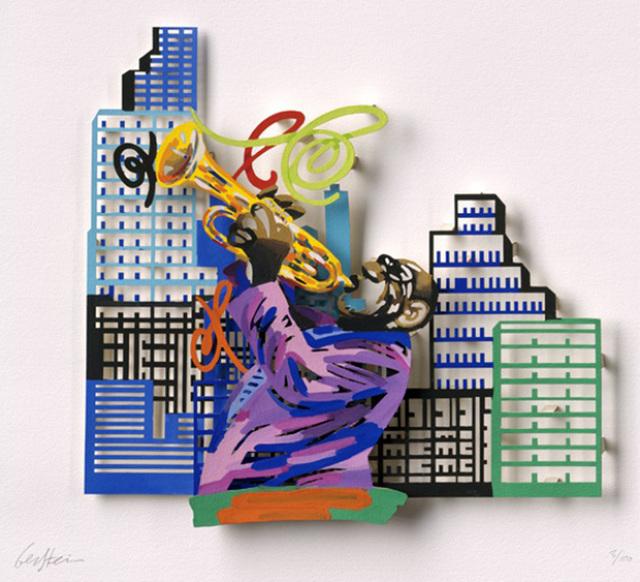 David Gerstein, 'Trumpet player - Paper cut', 2007, Galerie Duret