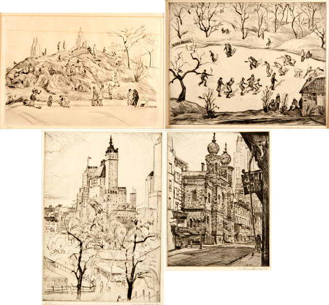 Mortimer Borne, 'The Anthill, Central Park, 1931, Skaters, Central Park, 1938, Plaza Towers, 1930 and Central Synagogue, Lex. Ave., 1938', Rago