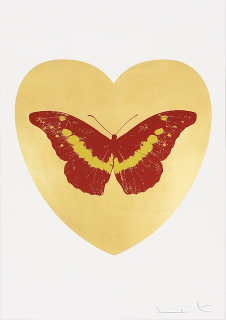 , 'I Love You - gold leaf, poppy red, oriental gold,' 2015, Paul Stolper Gallery