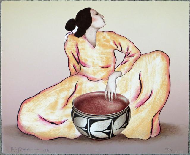 R.C. Gorman, 'Woman With Tulip Bowl (State I)', 1981, Print, Lithograph on paper, Joseph Grossman Fine Art Gallery