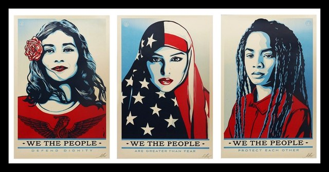 """Shepard Fairey, 'Triptych: """"We the People: Greater Than Fear, Defend Dignity, & Protect Each Other"""" - Three (3) Limited Edition Hand Signed Lithographs', 2017, Alpha 137 Gallery"""