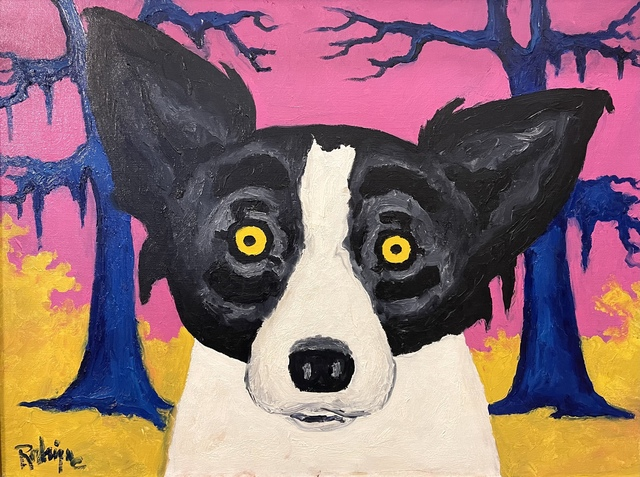 """George Rodrigue, '""""Almost Primary Dog,"""" Tiffany ', 1993, Painting, Oil on Canvas, Louisiana Art"""