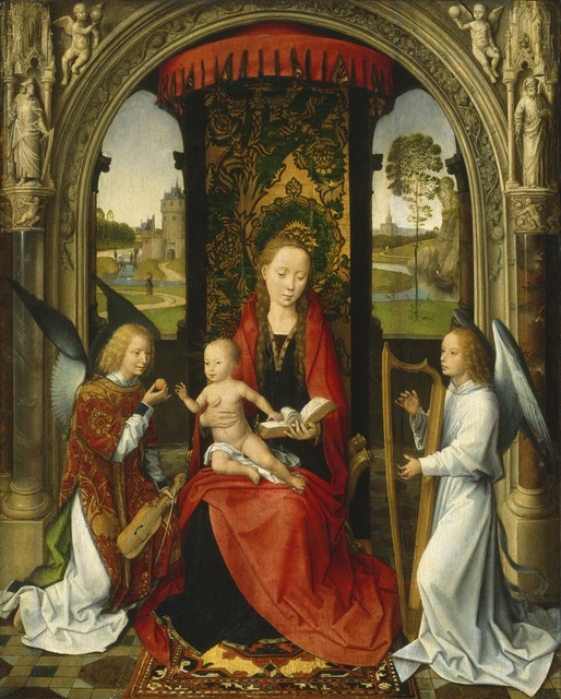 Hans Memling, 'Madonna and Child with Angels', after 1479, Painting, Oil on panel, National Gallery of Art, Washington, D.C.