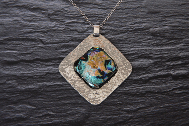 , 'Diamond Pewter and Dichroic Glass Pendant,' ca. 2012, Springfield Art Association