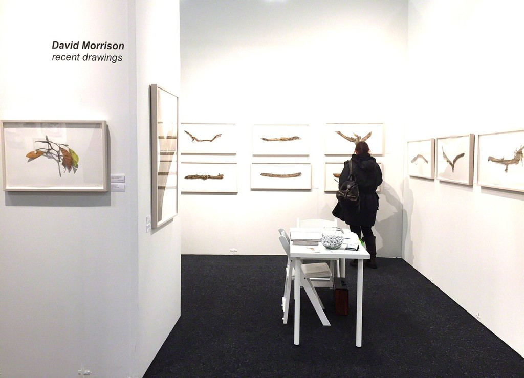 Installation view of the solo booth with latest drawings by David Morrison