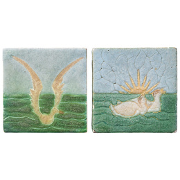 Two tiles decorated in cuerda seca with seagull and geese, Boston, MA