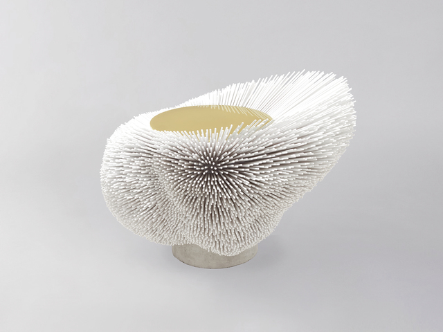 Pia Maria Raeder, ''Sea Anemone' Side Table (White)', 2016, Design/Decorative Art, 8,000 lacquered beech rods, varnished brushed brass top, cement base, Galerie BSL
