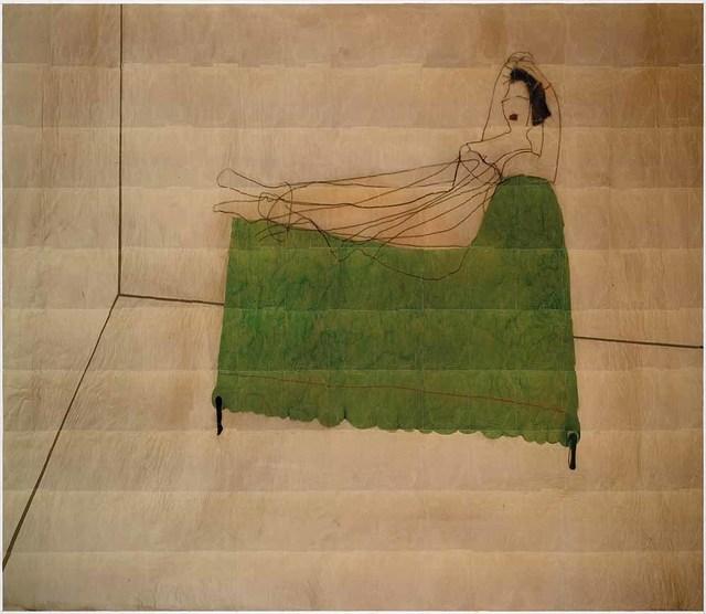 Azade Köker, 'On the Green Sofa', 2017, Photography, Mixed media on canvas, Zilberman Gallery