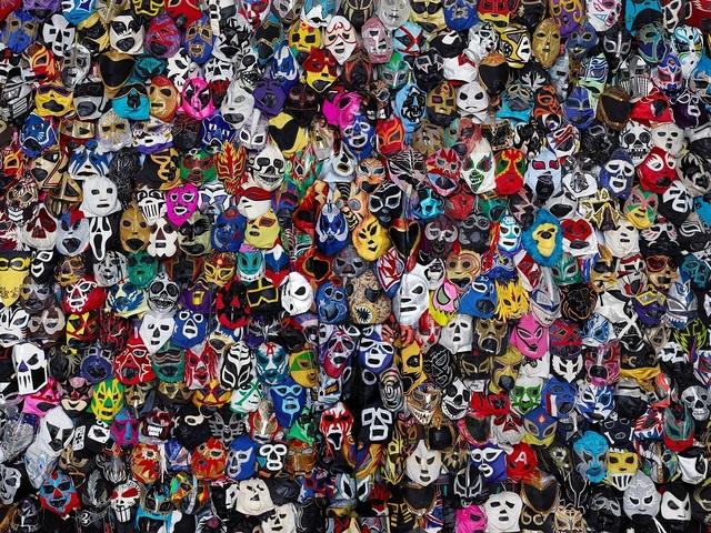 Liu Bolin, 'Hiding in Mexico- Mexican Wrestling mask', 2015, Galeria Oscar Roman