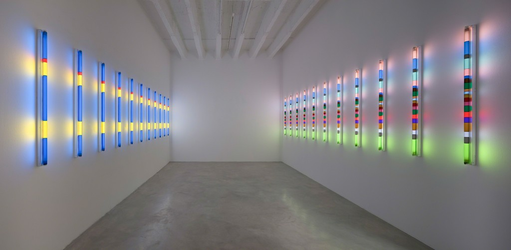 Bauhaus Light (Kandinsky's Studio/ Klee's Studio, afternoon effect), 2017, 22 fluorescent lights, fixtures, filters, dimensions variable, unique