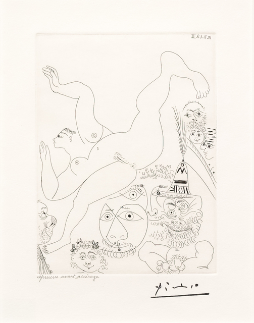 Pablo Picasso, 'Television: Gymnastique au Sol..., from the 347 Series', 1968, Leslie Sacks Gallery