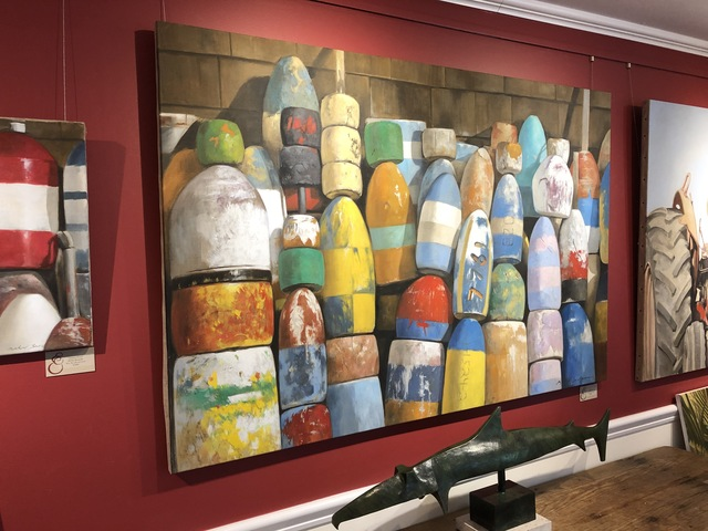 """Michel Brosseau, '""""Crayola"""" photorealistic oil painting of colorful buoys against shingles', 2019, Eisenhauer Gallery"""