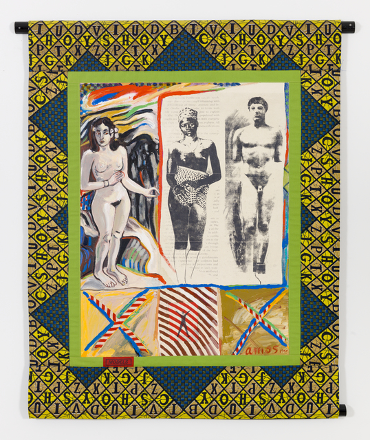 Emma Amos, 'Models', 1995, Painting, Acrylic on linen with African fabric borders and photo transfer, RYAN LEE