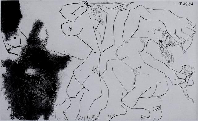 Pablo Picasso, 'Old Rembrandtesque Painter, Painting Bacchantes, from: Suite 347 | Vieux peintre Rembranesque peignant des bacchantes: La Suite 347', 1968, Gilden's Art Gallery