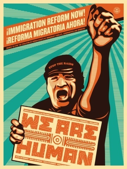 Shepard Fairey, 'Immigration Reform NOW', 2009, Art for ACLU Benefit Auction