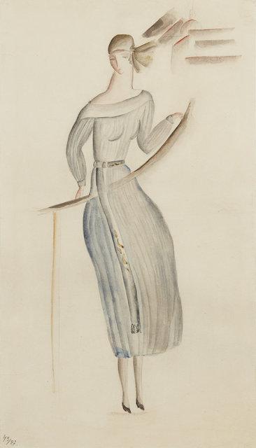 , 'Blågrå klänning, stiliserad stadsvy i bakgrunden ,' 1917-1921, CFHILL