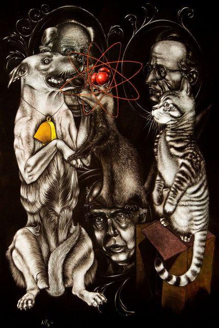 , 'Schrodinger's Cat, Pavlov's Dog, Bohr's Weasel,' 2017, Ro2 Art