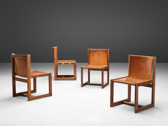 Unattributed Italian Set Of Dining Chairs In Patinated Cognac Leather 1960s Available For Sale Artsy