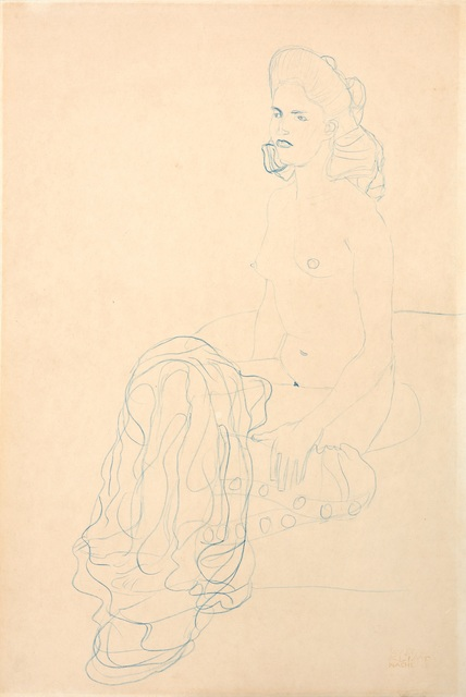 Gustav Klimt, 'Half Nude to the Left', ca. 1907, W&K - Wienerroither & Kohlbacher