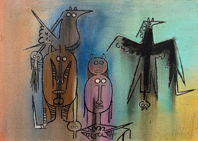 Wifredo Lam, 'Personajes con Pajaro Negro', 1972, Hindman